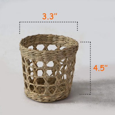 Made Terra Set of 6 Pack Wicker Woven Cup Holders Heat Resistant Hand Woven Drink Glass Cup Holder Chic Rustic Countryside Dining Table Kitchen Decor