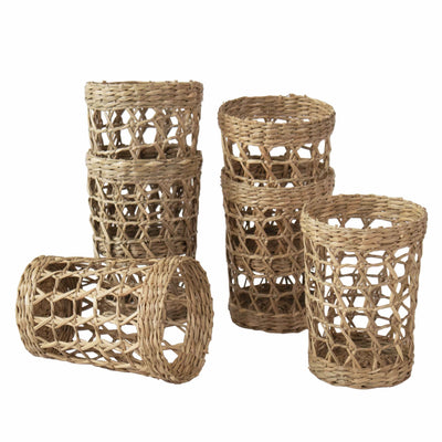 Made Terra D3.3 XH4.5 Set of 6 Pack Wicker Woven Cup Holders Heat Resistant Hand Woven Drink Glass Cup Holder Chic Rustic Countryside Dining Table Kitchen Decor