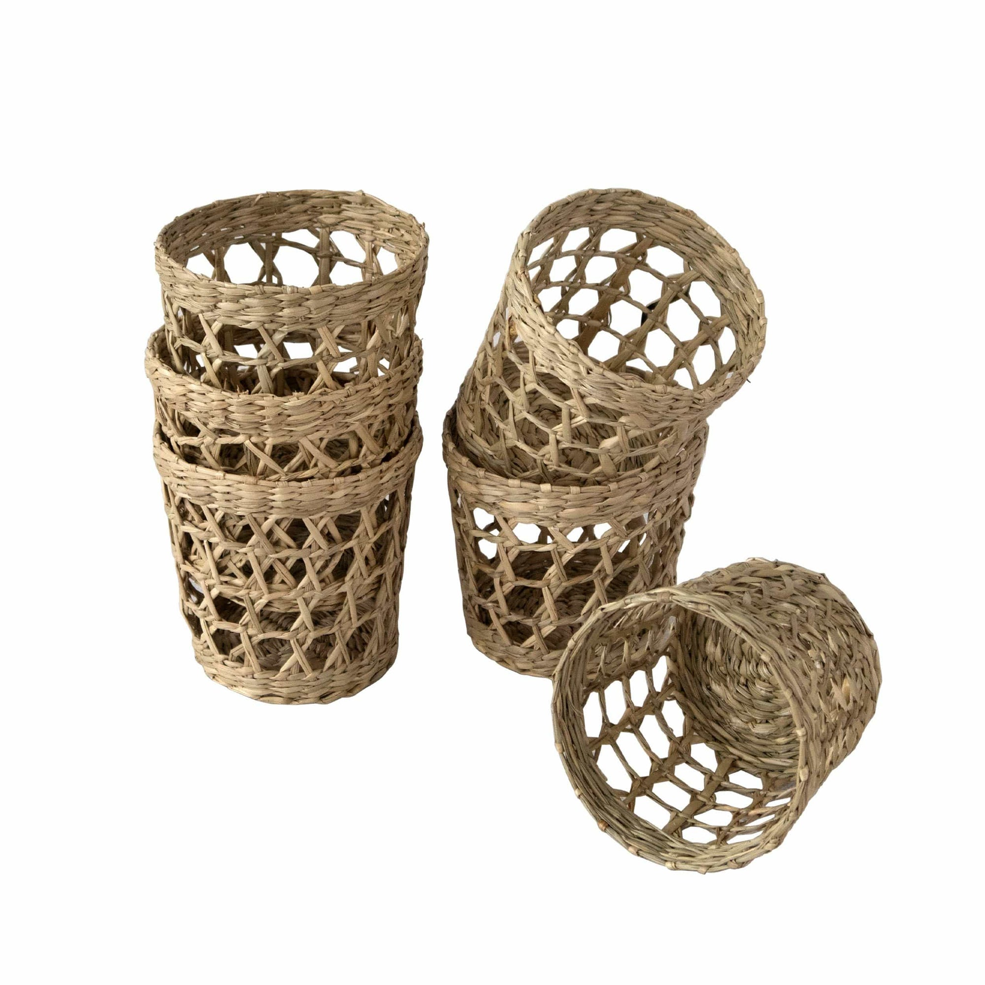 "Made Terra D3.5""xH3.3"" Set of 6 Pack Wicker Woven Cup Holders Heat Resistant Hand Woven Drink Glass Cup Holder Chic Rustic Countryside Dining Table Kitchen Decor"