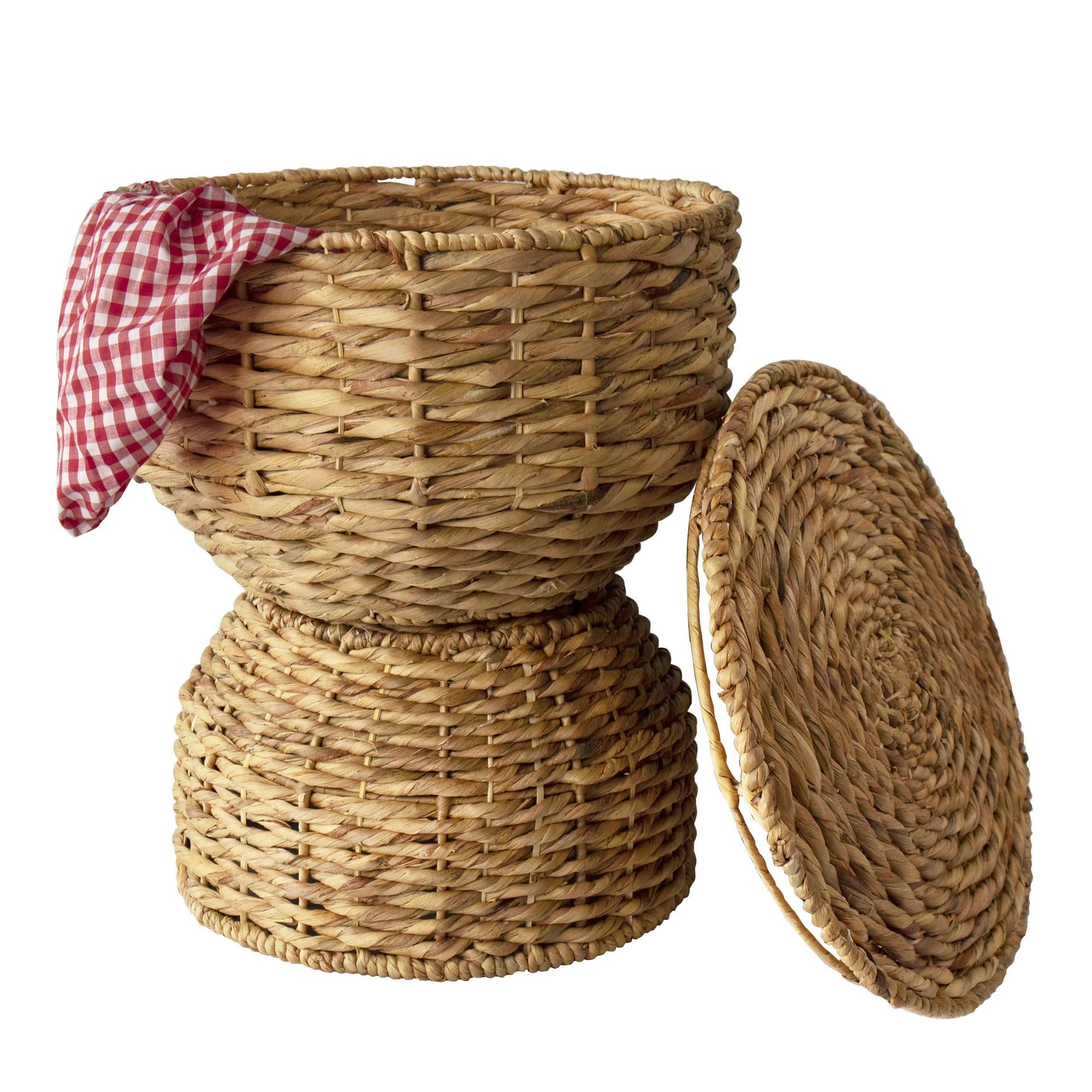 Made Terra Storage basket 2-tier Multipurpose Hand Woven Water Hyacinth Wicker Basket for Laundry, Storage Bins with Lid
