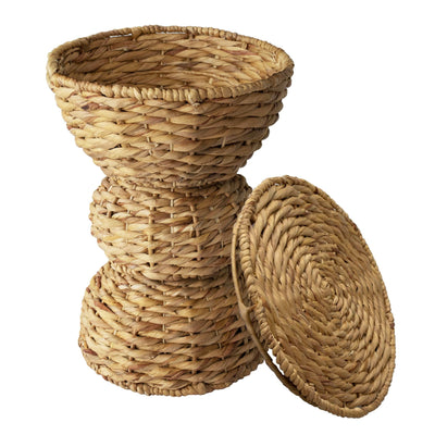 Made Terra Storage basket 3-tier Multipurpose Hand Woven Water Hyacinth Wicker Basket for Laundry, Storage Bins with Lid