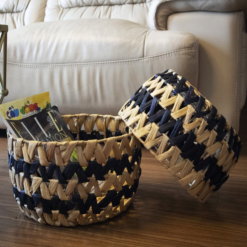 Made Terra Storage basket Mix Nesting Round Wicker Storage Basket Bins (Set 2) | Decorative Basket Organizer Hamper