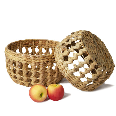 Made Terra Storage basket Natural Nesting Round Wicker Storage Basket Bins (Set 2) | Decorative Basket Organizer Hamper