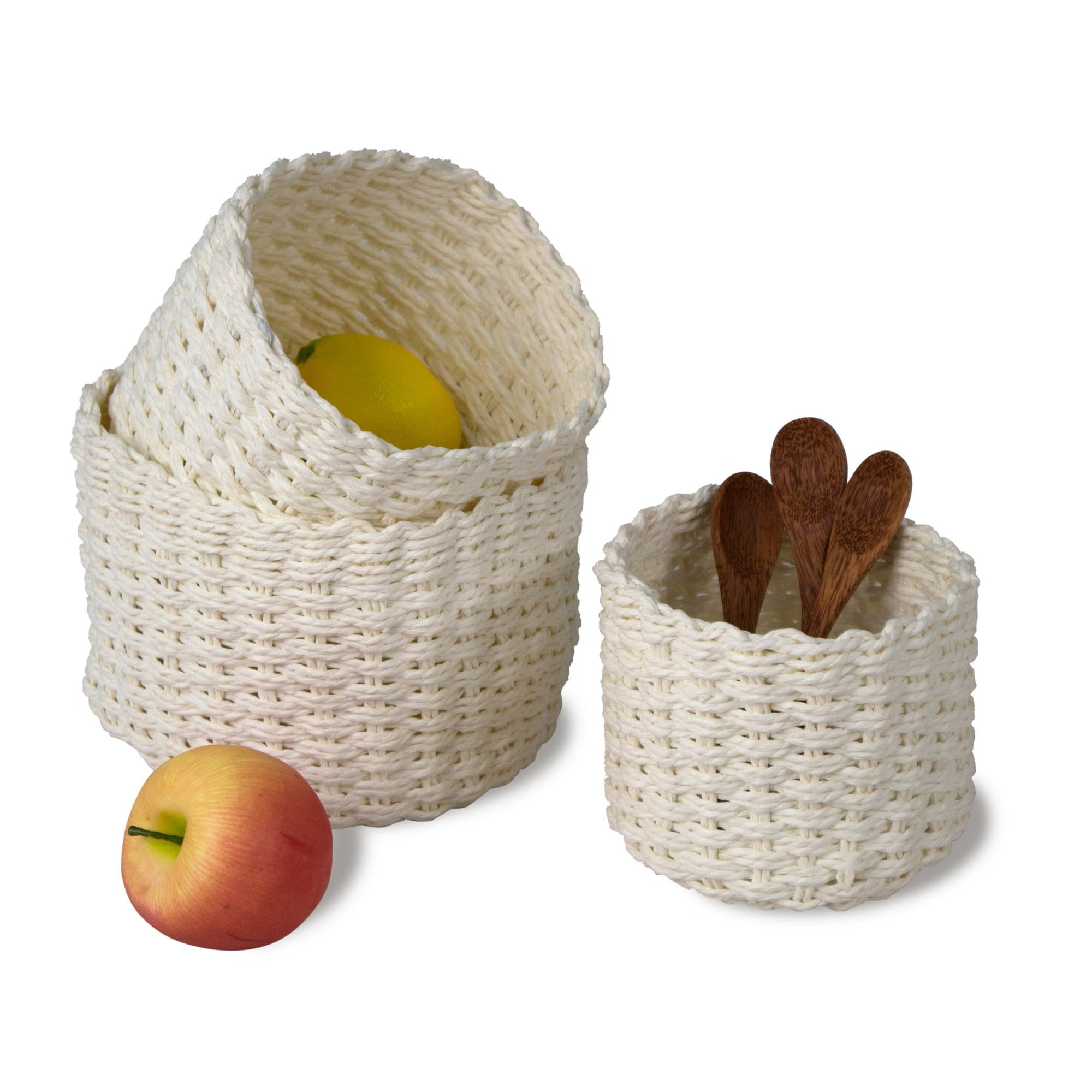 Made Terra Storage basket White Wicker Baskets for Bathroom, Kitchen and Home Decor | Wire Woven Closet Storage (Set 3)