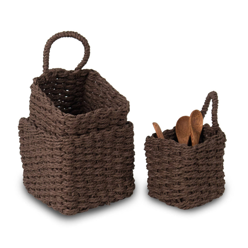 Made Terra Storage basket White Woven Wall Hanging Baskets for Storage and Plant Pot Cover