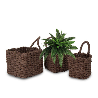 Made Terra Storage basket Coffee Brown Woven Wall Hanging Baskets for Storage and Plant Pot Cover