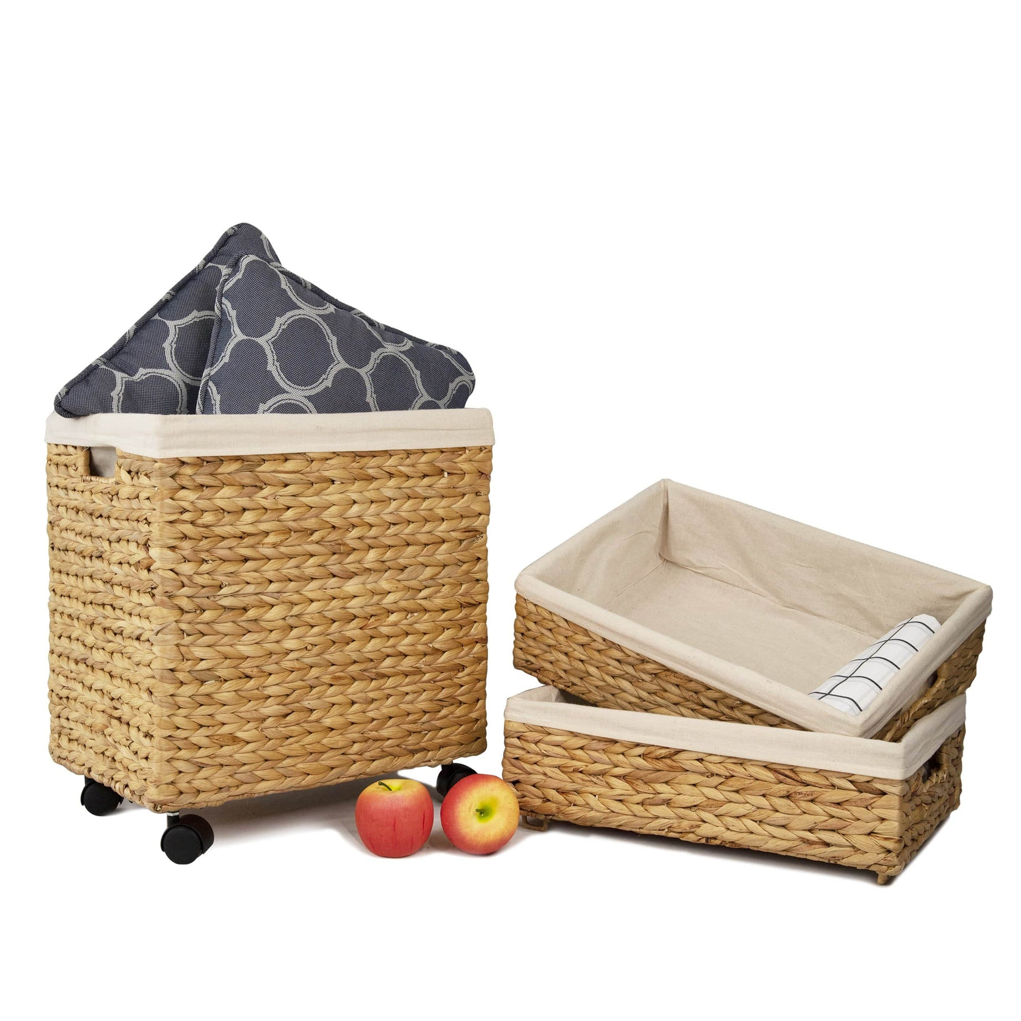 Made Terra Storage basket Woven Wicker Shelf Storage Baskets with Wheels (Set 3) | Decorative Organiser Baskets for Shelves, Bath Beauty Products Organizer