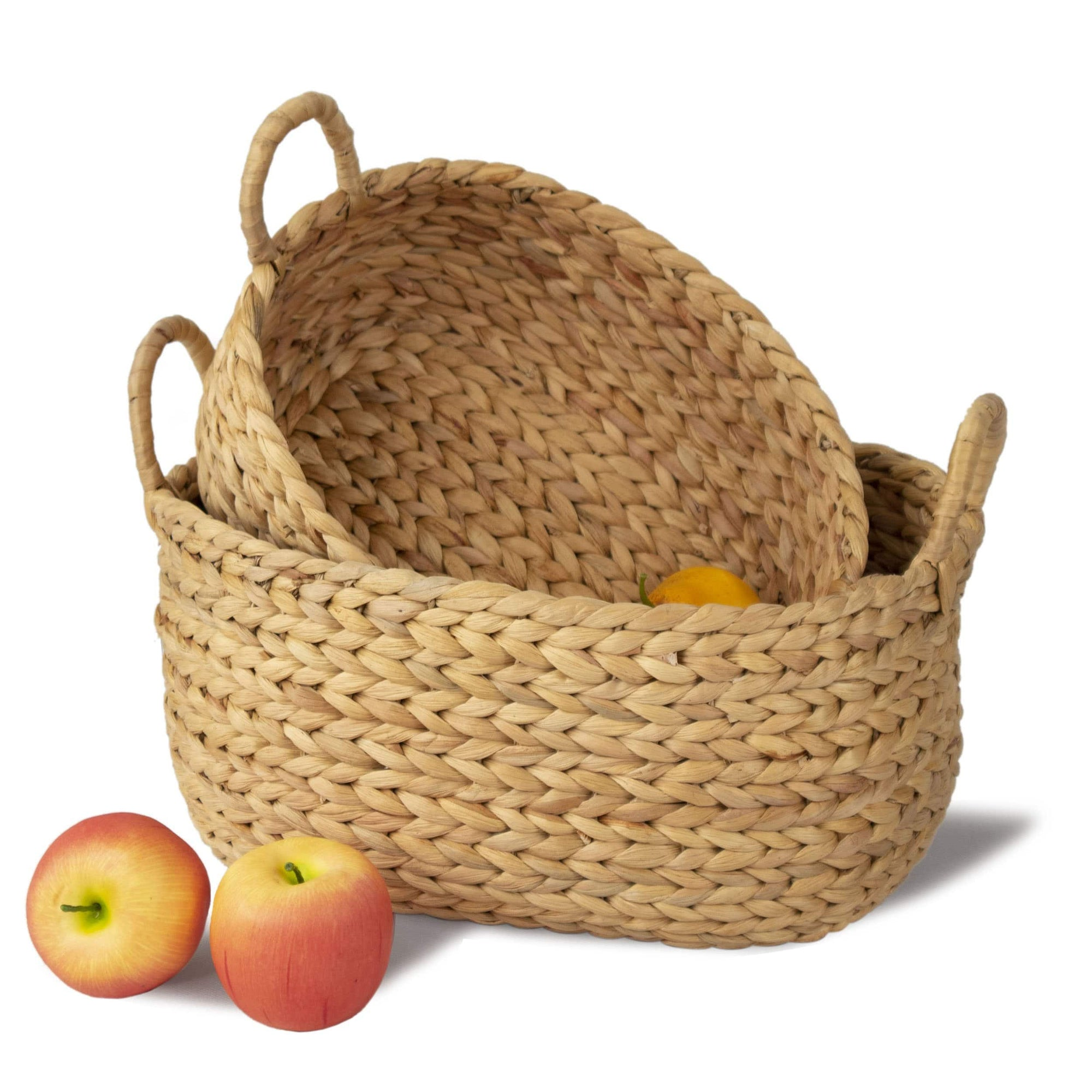 Made Terra Storage Box Natural Nesting Oval Wicker Baskets w Handles (Set 2) | Decorative Hamper Basket Laundry, ToyOrganizer