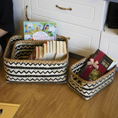Made Terra Storage Box Rectangle Wicker Baskets w Handles (Set 3) | Nesting Decorative Hamper Basket Laundry, Toy Organizer