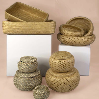 Made Terra Storage Box Round Seagrass Lidded Storage Bin | Home Pantry Bathroom Decoration & Organization