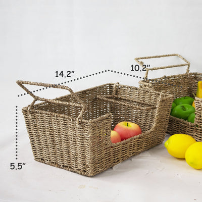 Made Terra Storage Box Wicker Stacking Storage Basket (Set 2) | Organizers with Handles - Food, Fruit, Vegetable Storage Bins