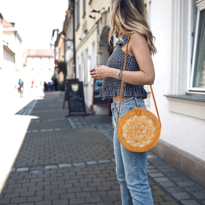 mix and match with straw bag in summer