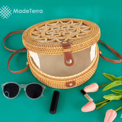 Made Terra Straw bags 10-Inch Rattan Round Bag | Summer Over-sized Crossbody Bag for Women (Sun)