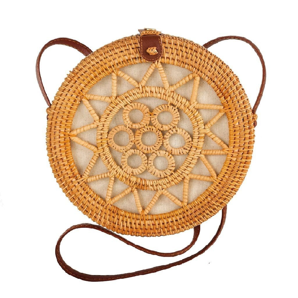 Made Terra Straw bags PU Leather 10-Inch Rattan Round Bag | Summer Over-sized Crossbody Bag for Women (Sun)