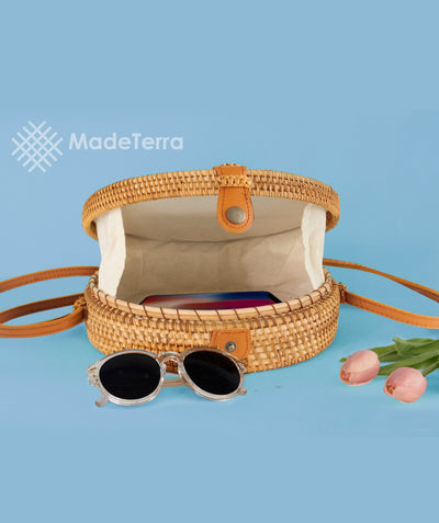 Made Terra Straw bags 10-Inch Round Rattan Bag | Summer Essential Straw Bag for Women (Ancient Drum)