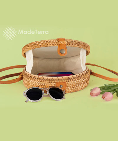 Made Terra Straw bags 10-Inch Round Rattan Bag | Summer Essential Straw Bag for Women (Circles)