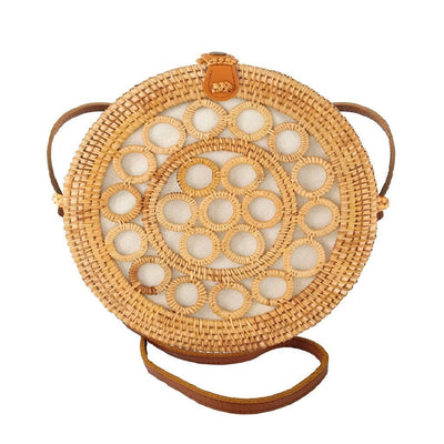 Made Terra Straw bags Genuine Leather 10-Inch Round Rattan Bag | Summer Essential Straw Bag for Women (Circles)
