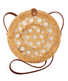 Made Terra Straw bags PU Leather 10-Inch Round Rattan Bag | Summer Essential Straw Bag for Women (Circles)