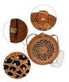 Made Terra Straw bags 10-Inch Round Rattan Bag | Summer Essential Straw Bag for Women (Floral)