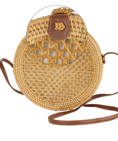 Made Terra Straw bags 10-Inch Round Rattan Bag | Summer Essential Straw Bag for Women (Natural beehive)