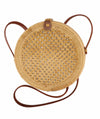Made Terra Straw bags PU Leather 10-Inch Round Rattan Bag | Summer Essential Straw Bag for Women (Natural beehive)