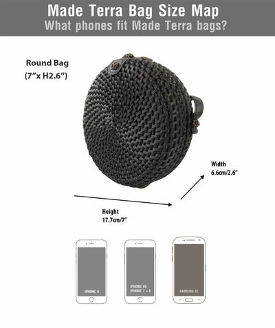 Made Terra Straw bags 7-Inch Black Rattan Round Crossbody Bag | Summer Essential Woven Handbag for Women