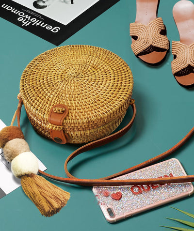 "Made Terra Straw bags 8"" Rattan Straw Bag with Leather Strap  (Minimal Design)"