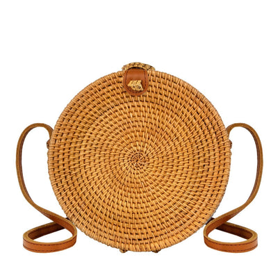 "Made Terra Straw bags 8"" Inch / Genuine Leather 8"" Rattan Straw Bag with Leather Strap  (Minimal Design)"