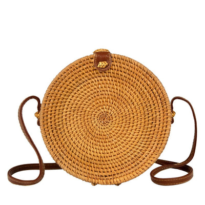 "Made Terra Straw bags 8"" Inch / PU Leather 8"" Rattan Straw Bag with Leather Strap  (Minimal Design)"