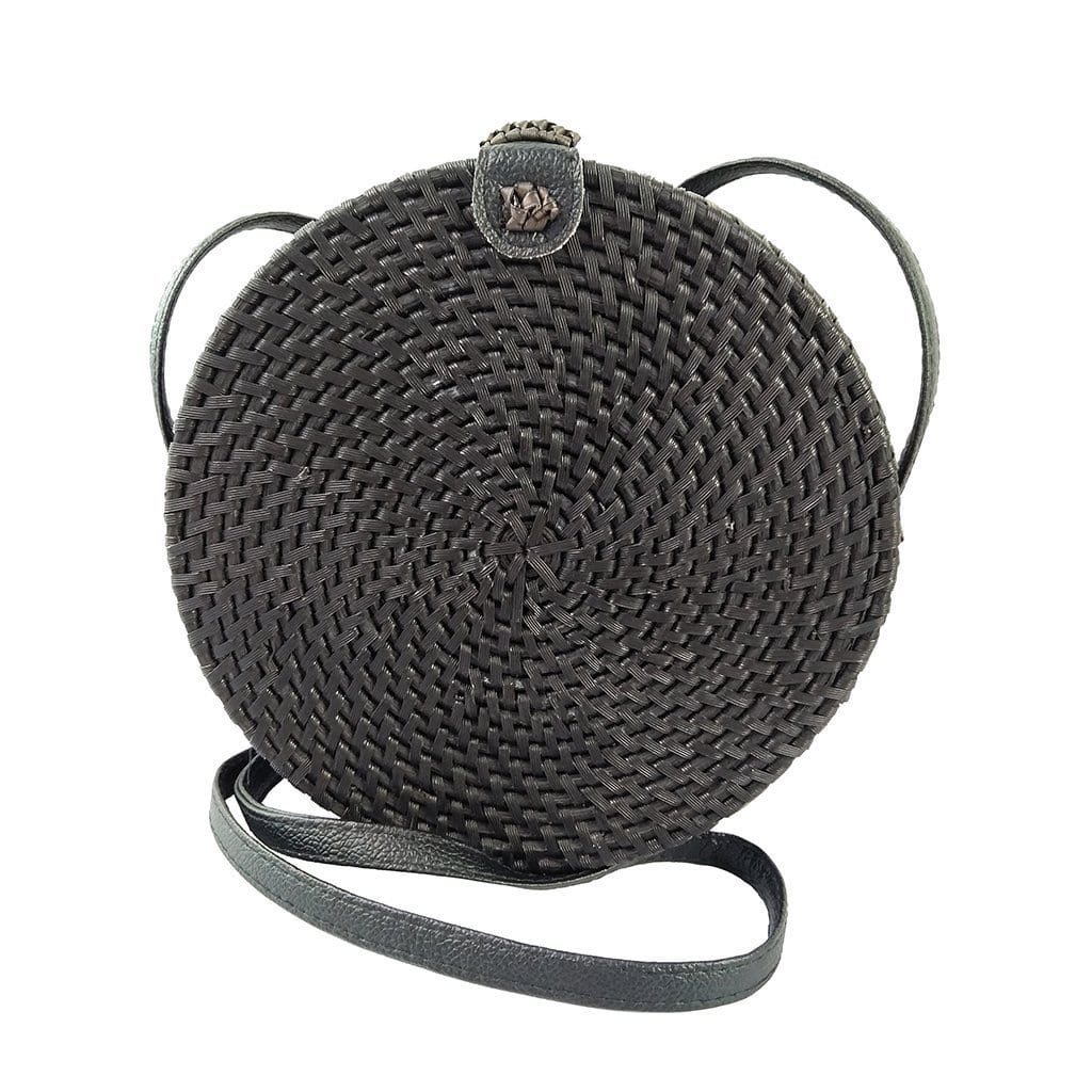 Made Terra Straw bags 9-inch Black Straw Crossbody Bag | Wicker Woven Rattan Handbag for Women