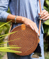 Made Terra Straw bags Brown Round Rattan Bag | 9-Inch Summer Essential Straw Bag for Girls (Beehive Brown)