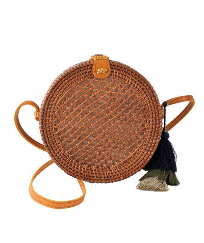 Made Terra Straw bags Genuine Leather Brown Round Rattan Bag | 9-Inch Summer Essential Straw Bag for Girls (Beehive Brown)