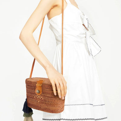 Made Terra Straw bags Oval Rattan Bag  | Hand Woven Wicker Cylinder Rattan for Summer Girls
