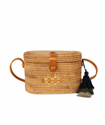 Made Terra Straw bags Natural / Genuine Leather Oval Rattan Bag  | Hand Woven Wicker Cylinder Rattan for Summer Girls