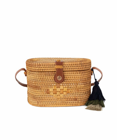 Made Terra Straw bags Natural / PU Leather Oval Rattan Bag  | Hand Woven Wicker Cylinder Rattan for Summer Girls