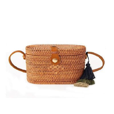 Made Terra Straw bags Rattan Brown / Genuine Leather Oval Rattan Bag  | Hand Woven Wicker Cylinder Rattan for Summer Girls