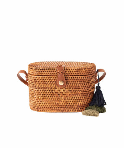 Made Terra Straw bags Rattan Brown / PU Leather Oval Rattan Bag  | Hand Woven Wicker Cylinder Rattan for Summer Girls