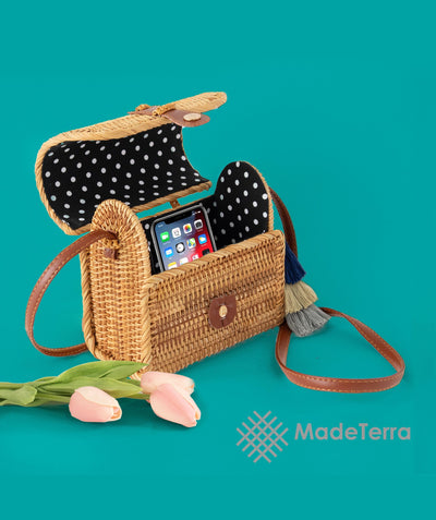 Made Terra Straw bags Oval Straw Bag Purse for Women | 7-Inch Wicker Cylinder Rattan Crossbody Handbags