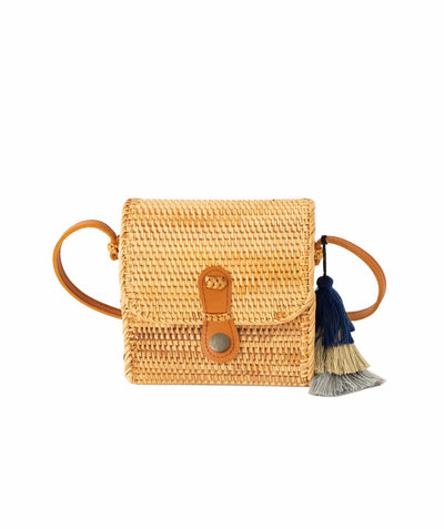 Made Terra Straw bags Genuine Leather Oval Straw Bag Purse for Women | 7-Inch Wicker Cylinder Rattan Crossbody Handbags
