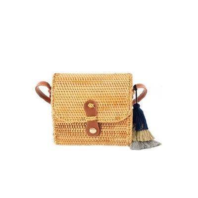 Made Terra Straw bags PU Leather Oval Straw Bag Purse for Women | 7-Inch Wicker Cylinder Rattan Crossbody Handbags