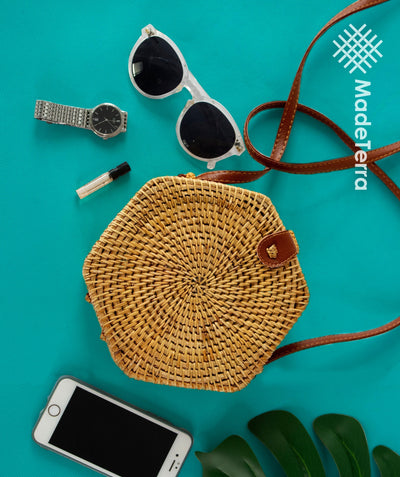 Made Terra Straw bags Rattan Bag Purse (Hexagon) | Summer Essential Straw Handbags for Women