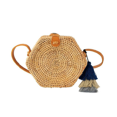 Made Terra Straw bags Genuine Leather Rattan Bag Purse (Hexagon) | Summer Essential Straw Handbags for Women