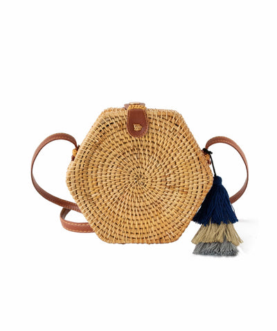 Made Terra Straw bags PU Leather Rattan Bag Purse (Hexagon) | Summer Essential Straw Handbags for Women