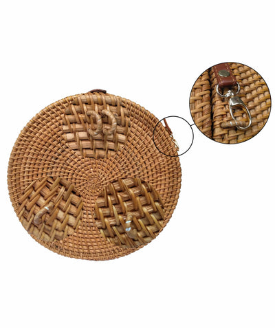 Made Terra Straw bags Round Rattan Backpack & Handbag | Summer Essential Straw Beach Picnic Backpack