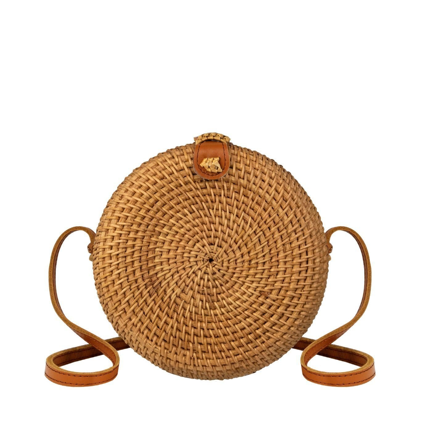 Made Terra Straw bags Genuine Leather Round Rattan Bag (7-inch) | Hand Woven Boho Bali Ata Rattan Crossbody Handbags
