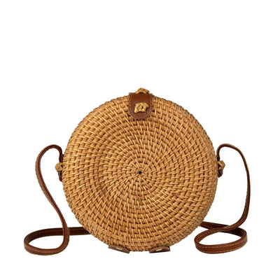 Made Terra Straw bags PU Leather Round Rattan Bag (7-inch) | Hand Woven Boho Bali Ata Rattan Crossbody Handbags