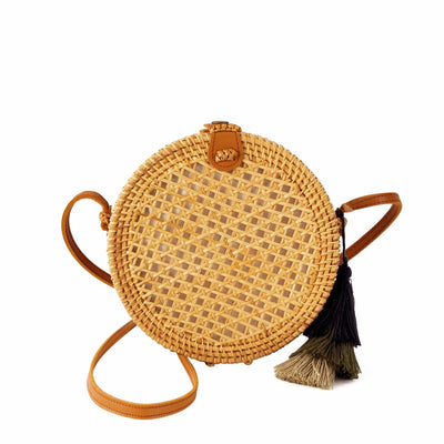 Made Terra Straw bags Genuine Leather Round Rattan Bag | 9-Inch Summer Essential Straw Bag For Women (Beehive Natural)