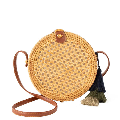 Made Terra Straw bags PU Leather Round Rattan Bag | 9-Inch Summer Essential Straw Bag For Women (Beehive Natural)