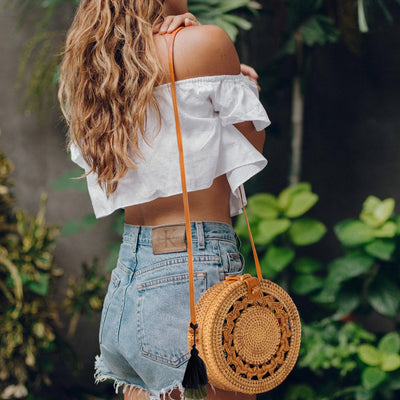 Made Terra Straw bags Round Rattan Bag | 9- inch Summer Essential Straw Handbags for Women (Asian Drum)