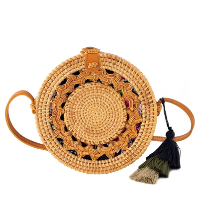 Made Terra Straw bags Genuine Leather Round Rattan Bag | 9- inch Summer Essential Straw Handbags for Women (Asian Drum)